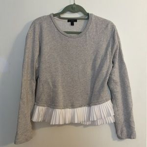 J.crew pleated ruffle sweatshirt